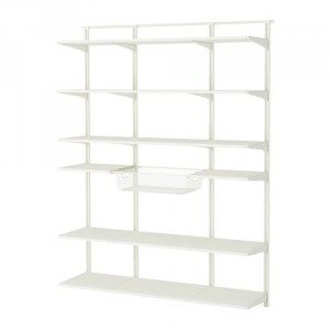 algot wall upright shelf and basket white