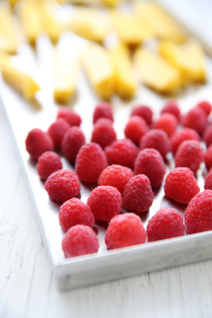 raspberries on a tray