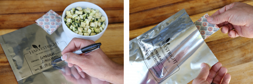 zucchini in a bowl, a mylar bag being labeled, an oxygen absorber being put into a mylar bag