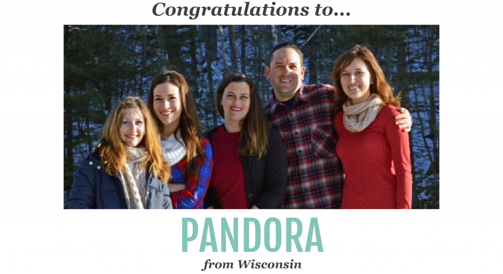 ongratulations to our lucky winner of our recent Harvest Right contest. Pandora from Wisconsin won a Harvest Right Home Freeze Dryer.