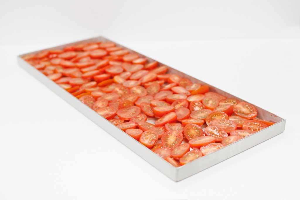 sliced tomatoes on a freeze dryer tray