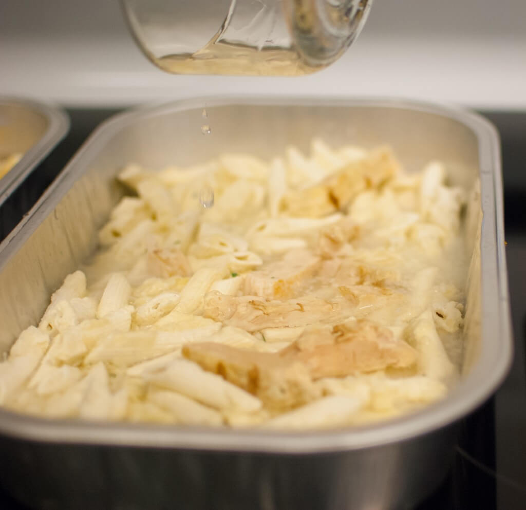freeze-dried pasta alfredo in an oven safe container