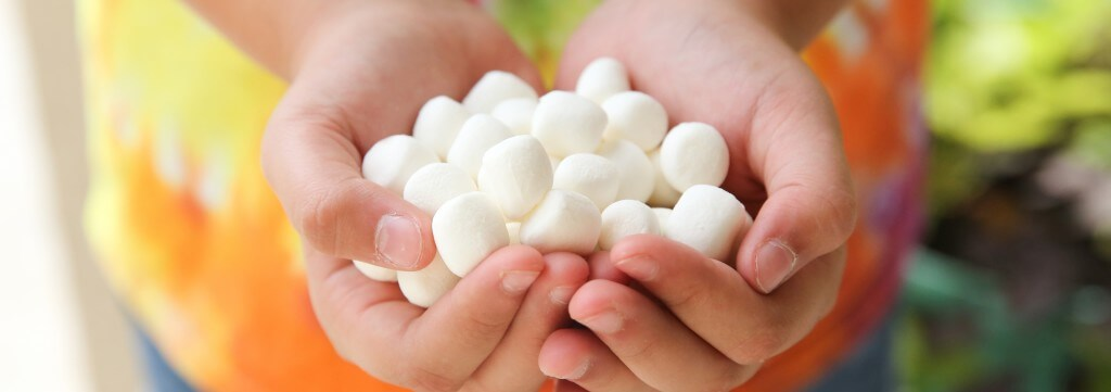 hands holding freeze dried marshmallows