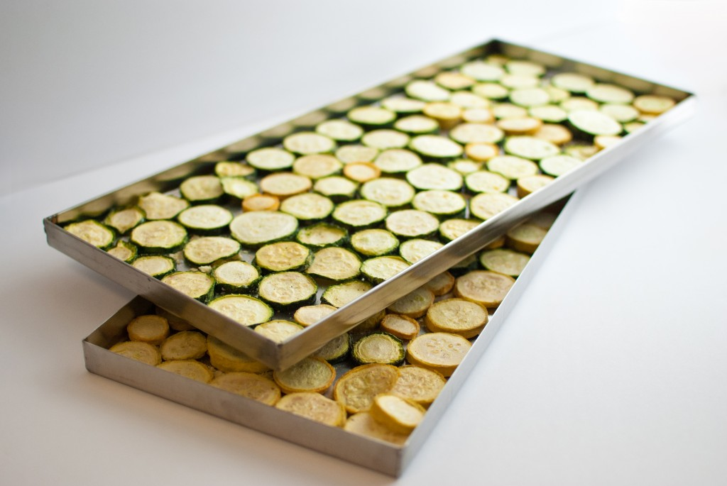 two trays of freeze dried zucchini and yellow squash