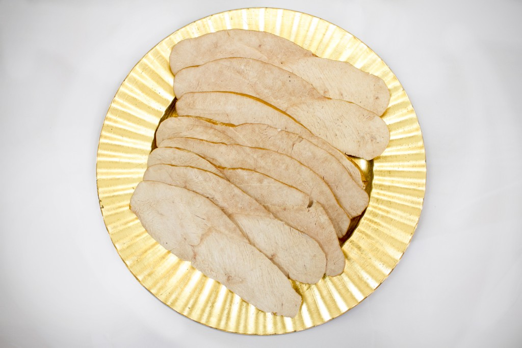sliced freeze dried turkey on a plate