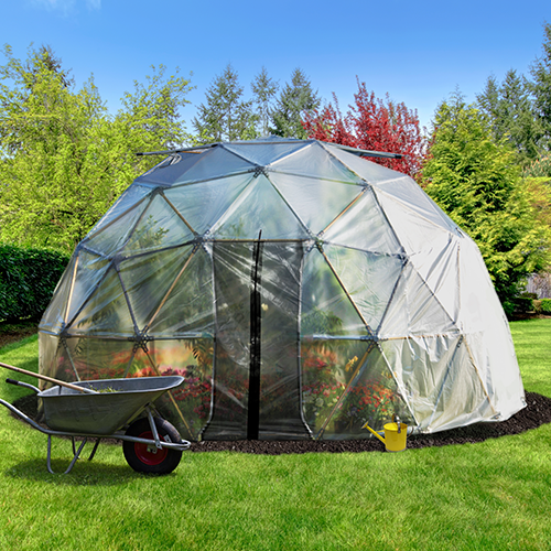 16ft Geodesic Greenhouse in a Backyard