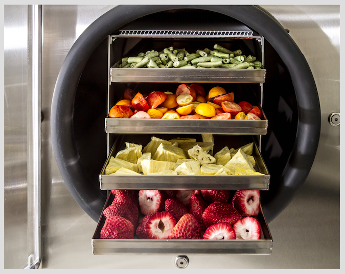 freeze dried food on trays in a stainless steel freeze dryer