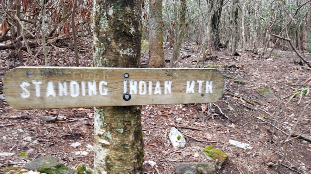 sign on a tree reads: STANDING INDIAN MTN