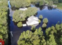 aerial view of a flooded house