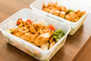 prepared meals in plastic containers