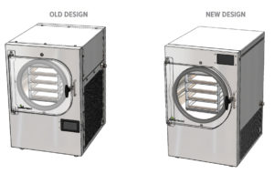 graphic showing old design and new design of the Harvest Right Freeze dryers