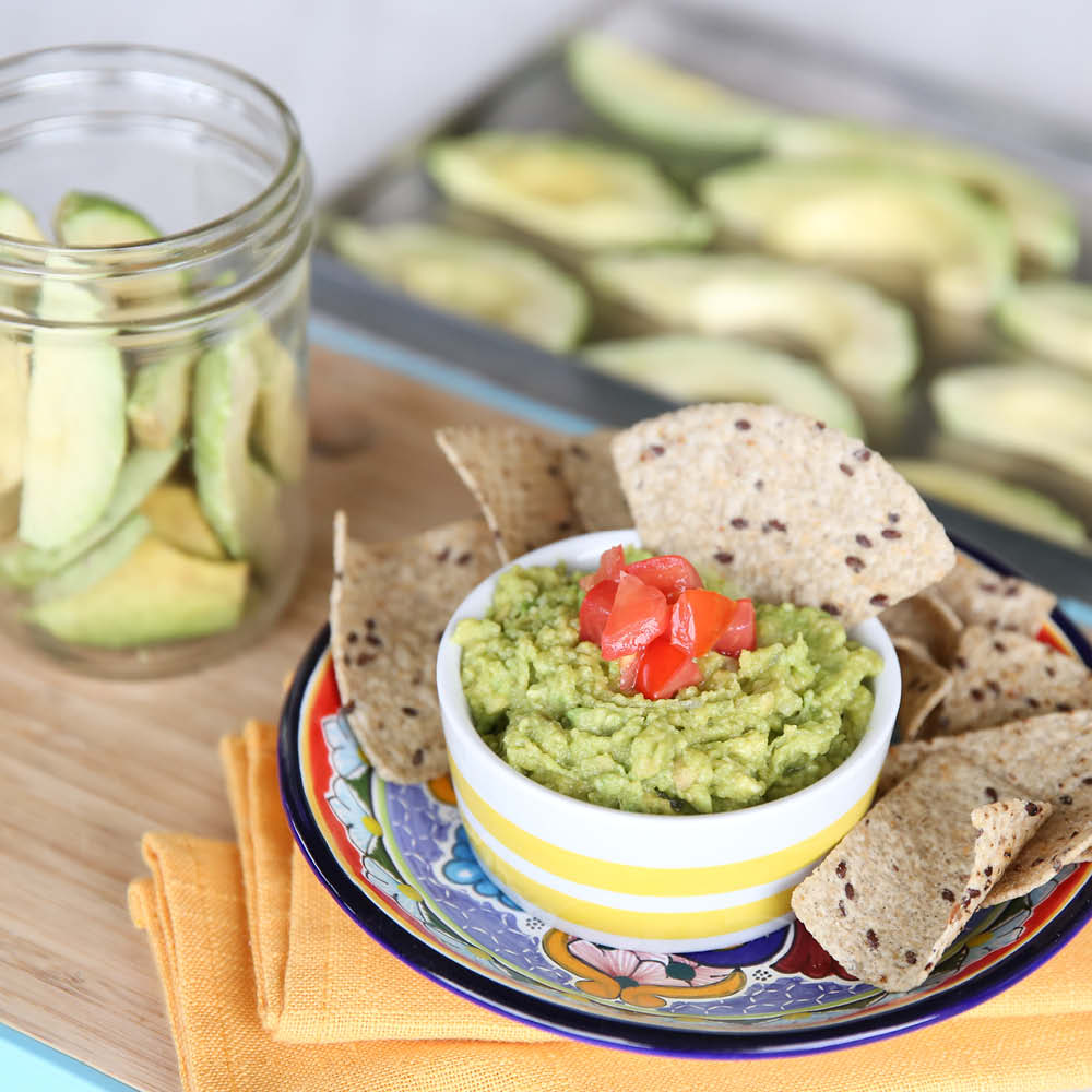 freeze dried avocados, chips and guacamole