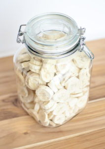 freeze dried bananas in a jar