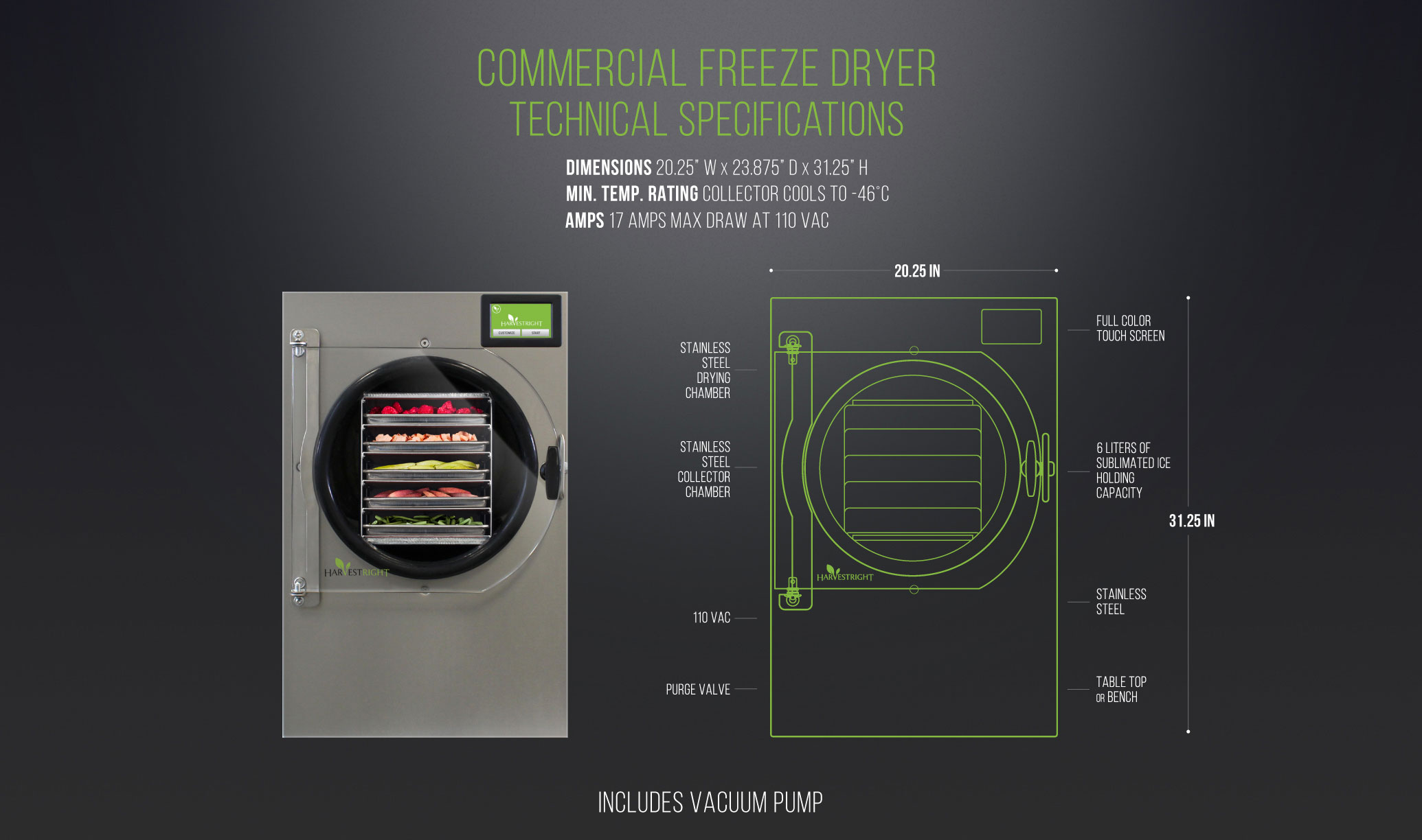 commercial freeze dryer technical specifications
