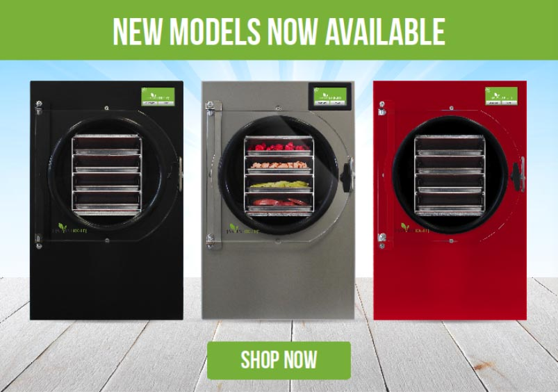 Image showing the caption: New models available, shop now. Below the caption, a black freeze dryer, a stainless steel freeze dryer, and a red freeze dryer. Below those, a button with the text: shop now.
