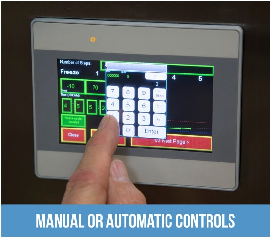the touch screen control panel on a lyophilizer