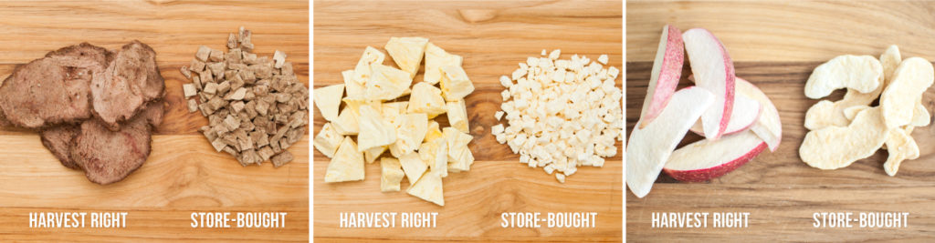 harvest right vs store bought freeze dried foods: steak, pineapple, and apples