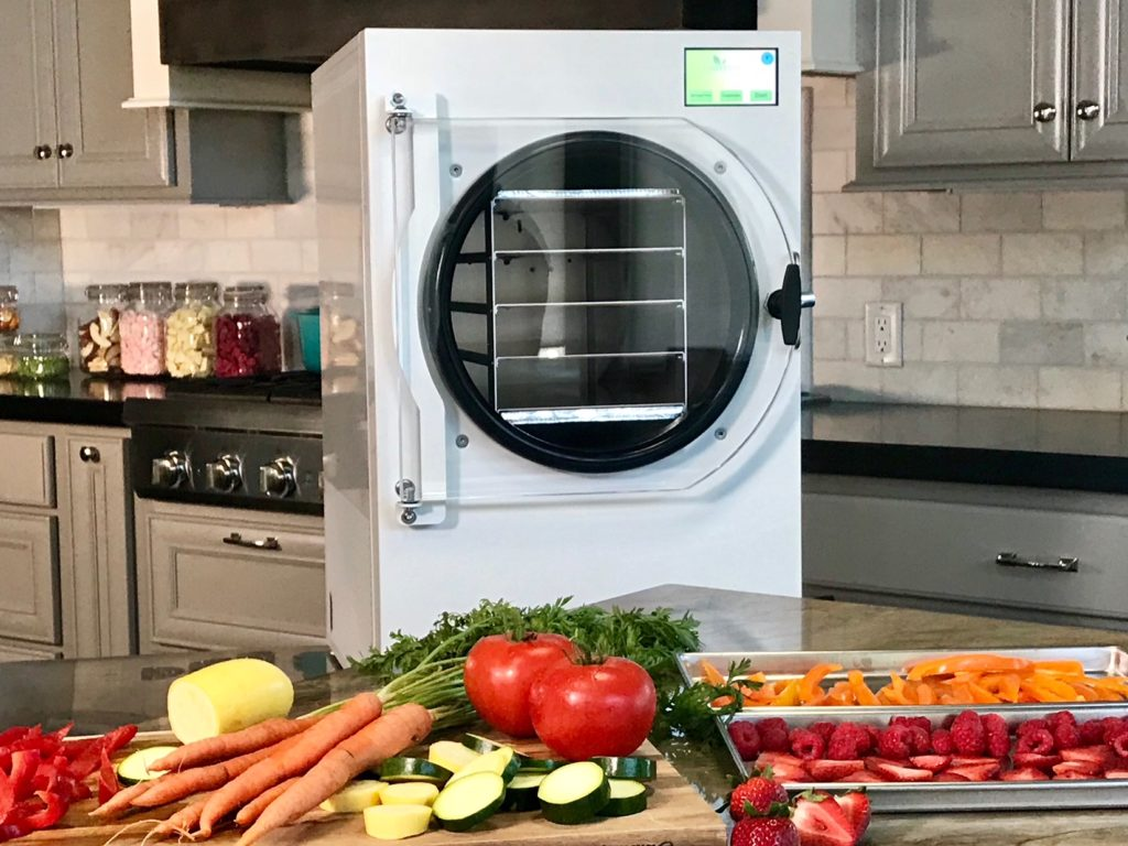 freeze dryer with food in front of it