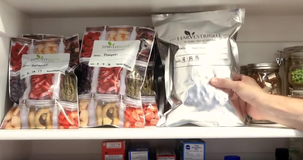 mylar bags of freeze dried food