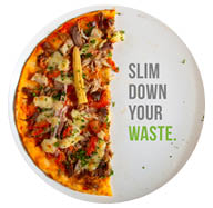 half of a pizza,caption: slim down your waste