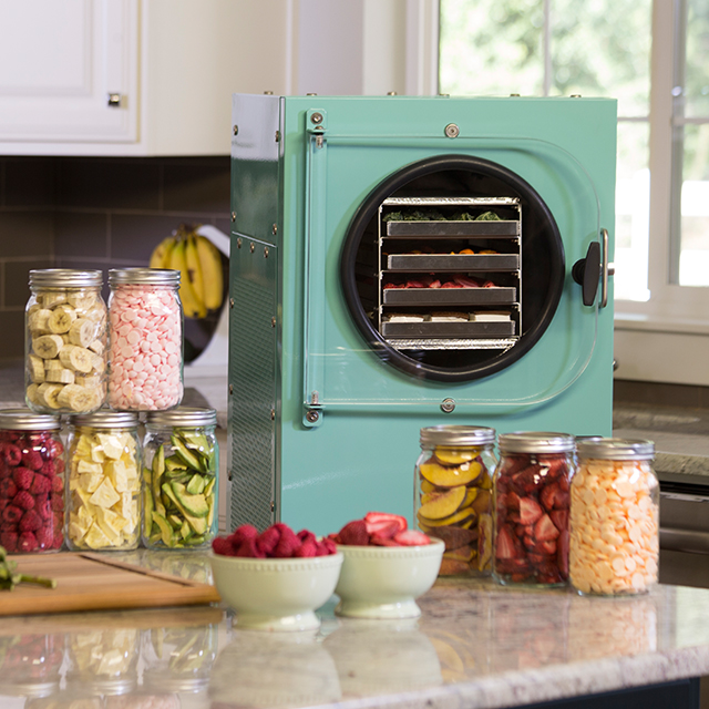an aqua blue freeze dryer surrounded by freeze dried food in a kitchen