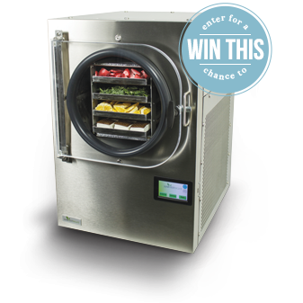 freeze dryer with a small caption that says: enter for a chance to win this