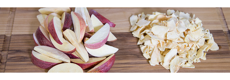 freeze dried apples next to dehydrated apples