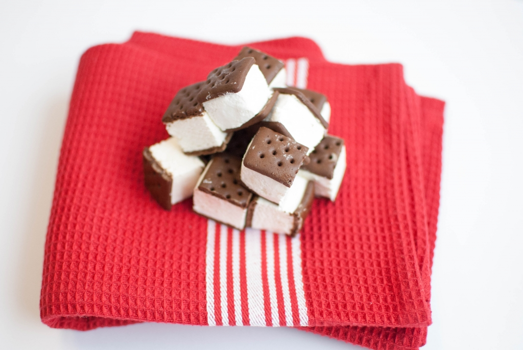 ice cream sandwiches on a red towel