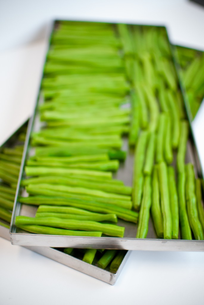 green beans on a freeze dryer tray