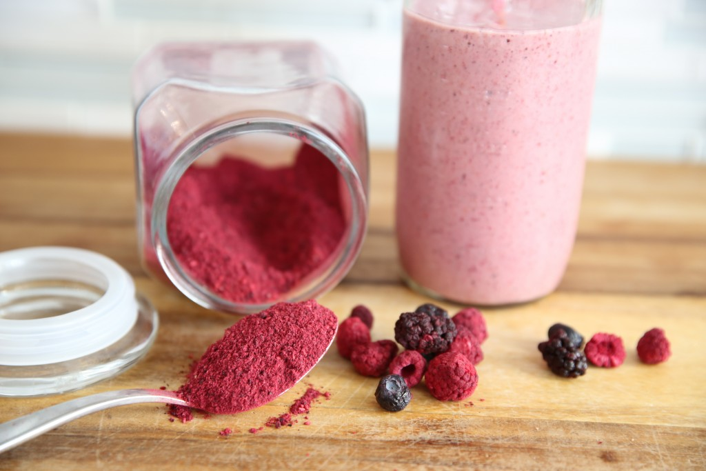 freeze dried berry powder and a smoothie