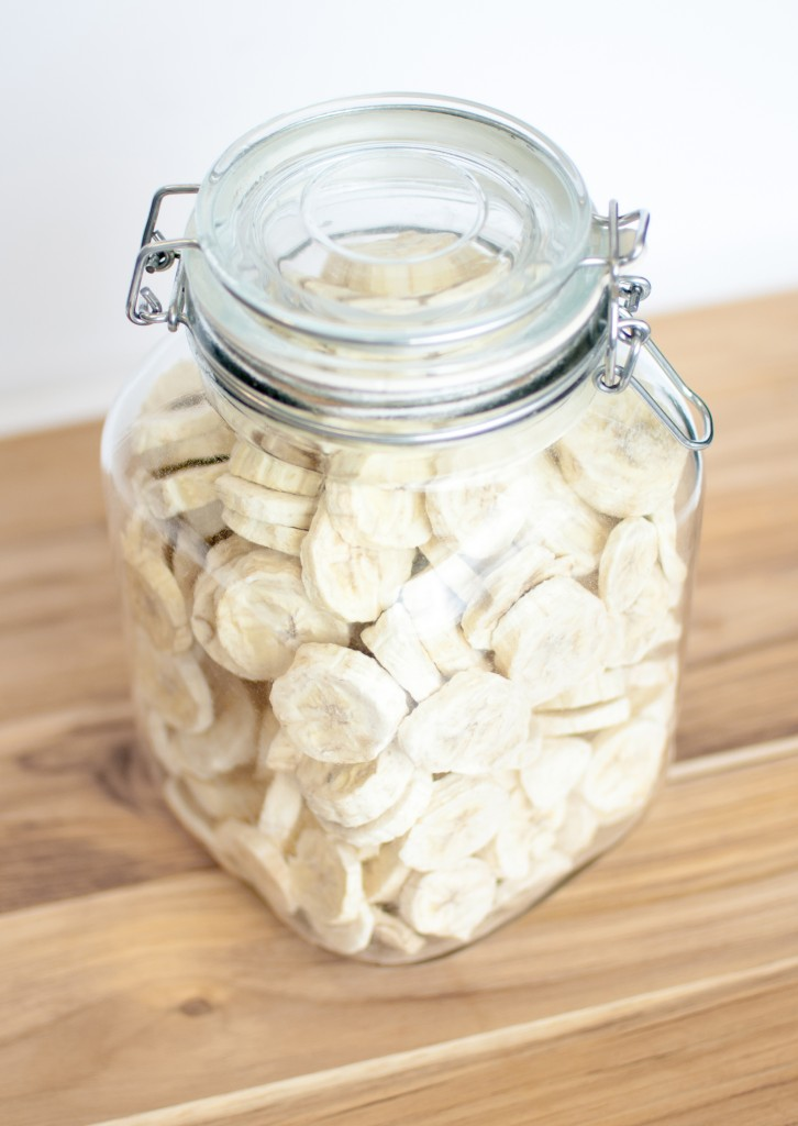 a jar of freeze dried bananas