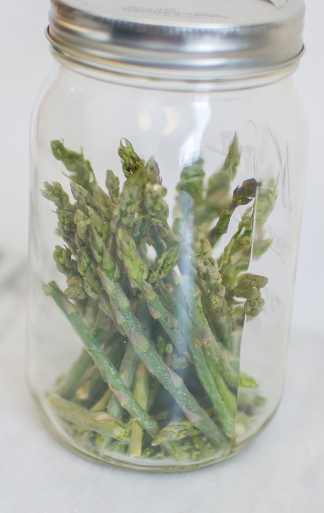 freeze dried asparagus in a glass jar