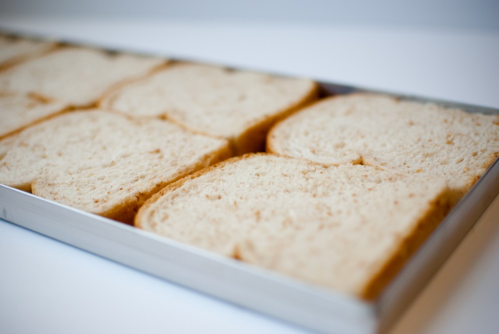sliced bread on freeze dryer trays