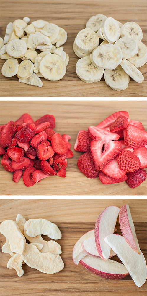 commercially freeze dried fruits are on the left and our's are on the right. Bananas, strawberries, and apples.