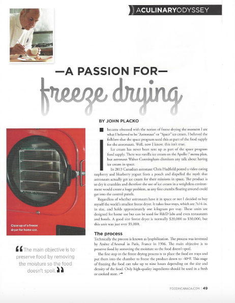 photo of a magazine page with the article title: A passion for freeze drying