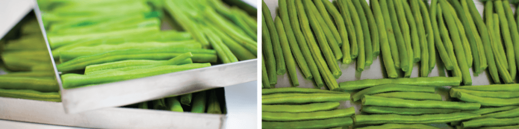 green beans in freeze dryer trays