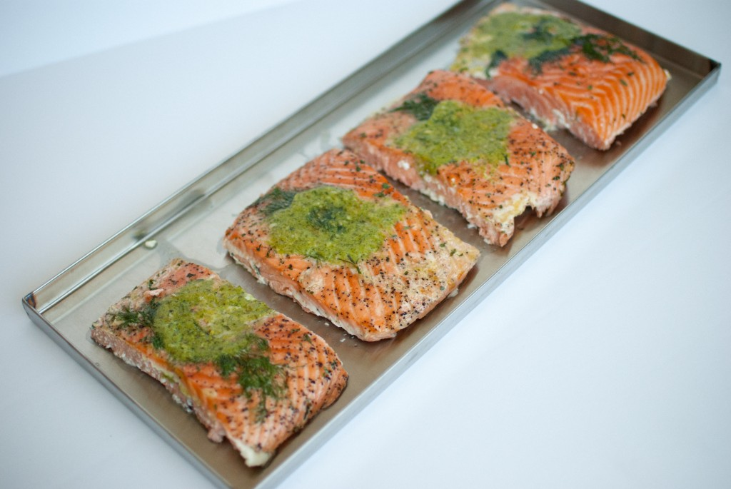 salmon fillets on a freeze dryer tray