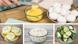 Quiche Ingredients: eggs, squash, cheese, zucchini