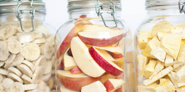 jars of freeze dried bananas , apples, and pineapple