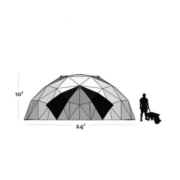 graphic showing 10ft tall by 24ft diameter greenhouse