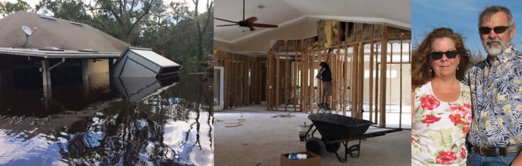 photo of a flooded house, a house with walls missing, and a woman and a man
