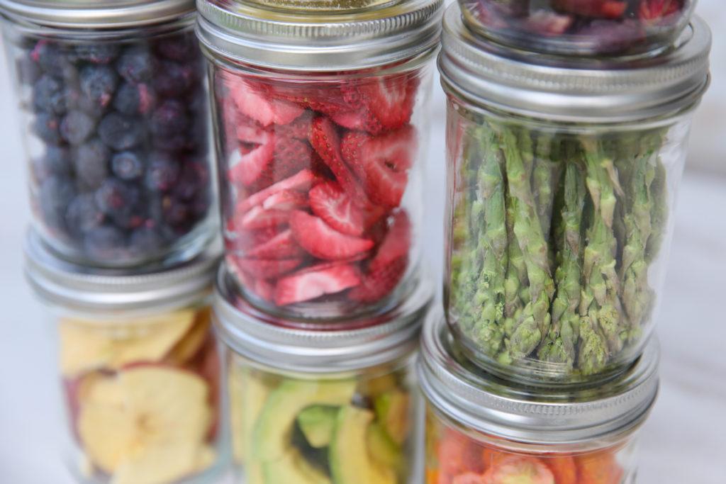 various freeze dried foods in jars