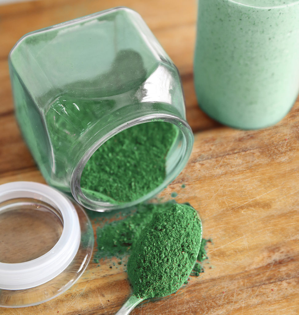 Freeze dried and powdered spinach, kale, and squash