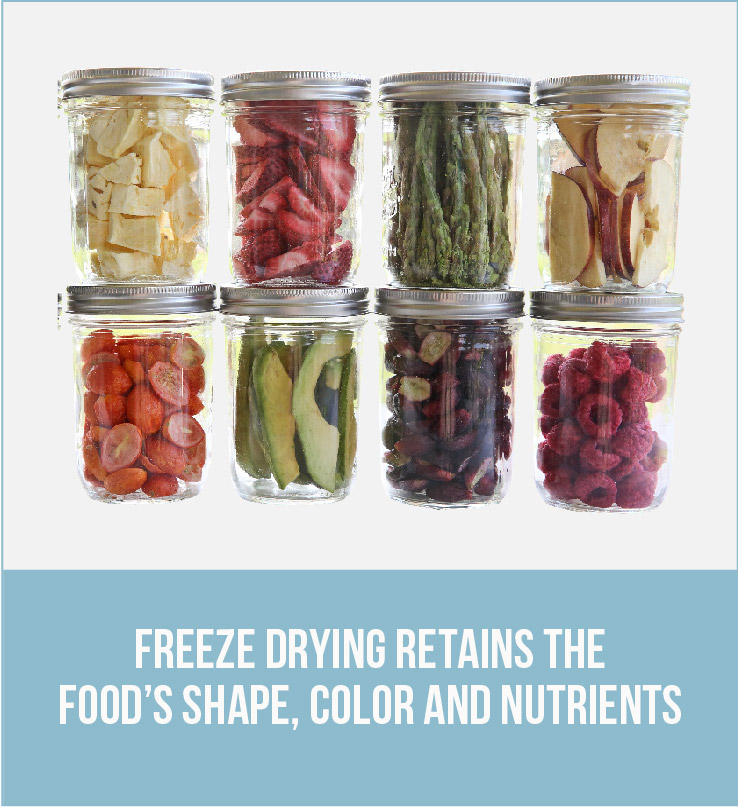 8 jars of freeze dried food with the caption: Freeze drying retains the food's shape, color and nutrients