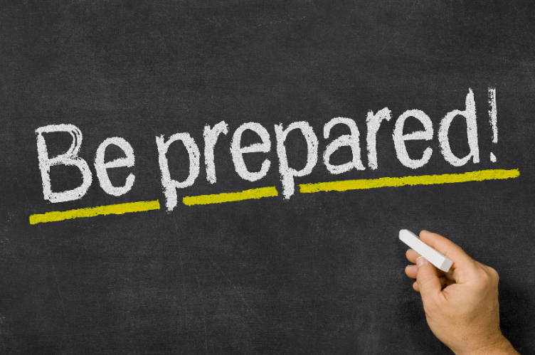 Chalkboard that says Be prepared! and the text is underlined
