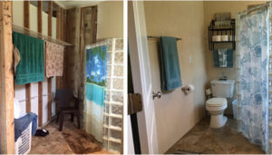 before and after of a restroom
