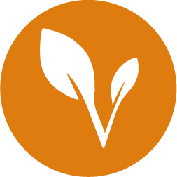 White harvest right leaf icon on an orange circle