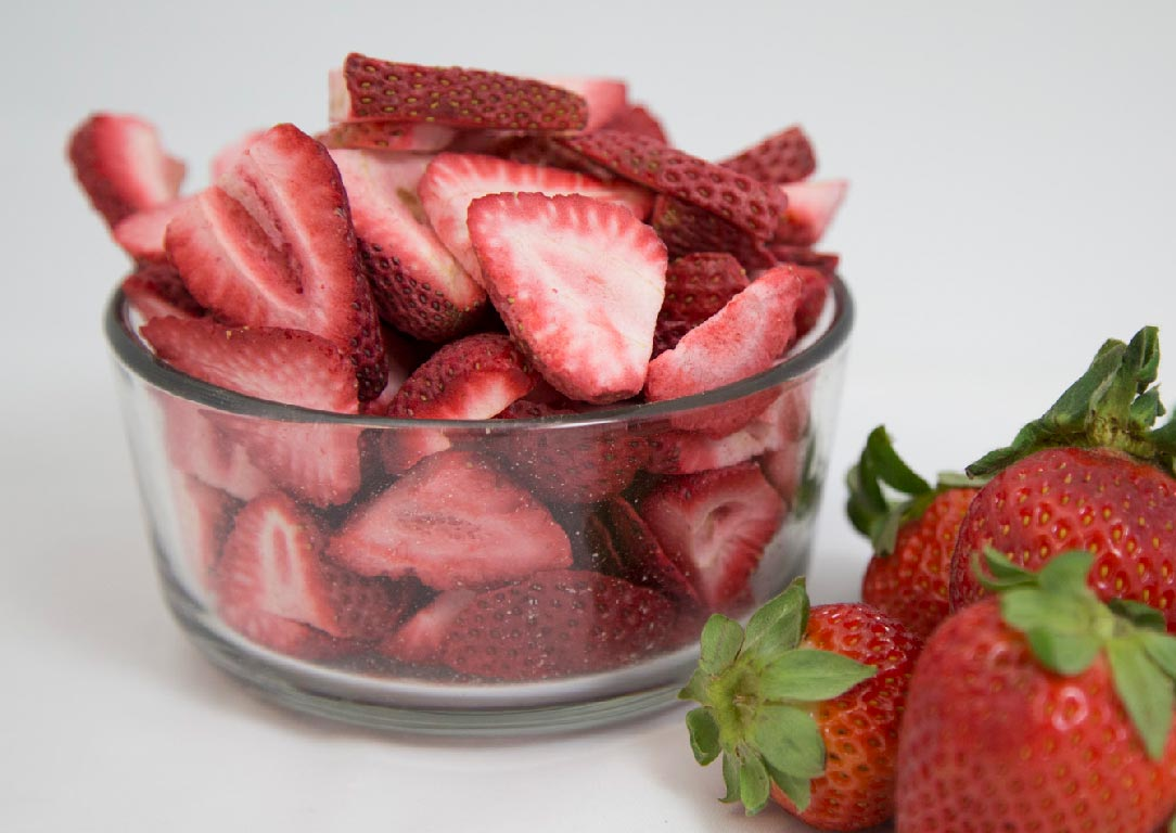 bowl of freeze dried strawberries