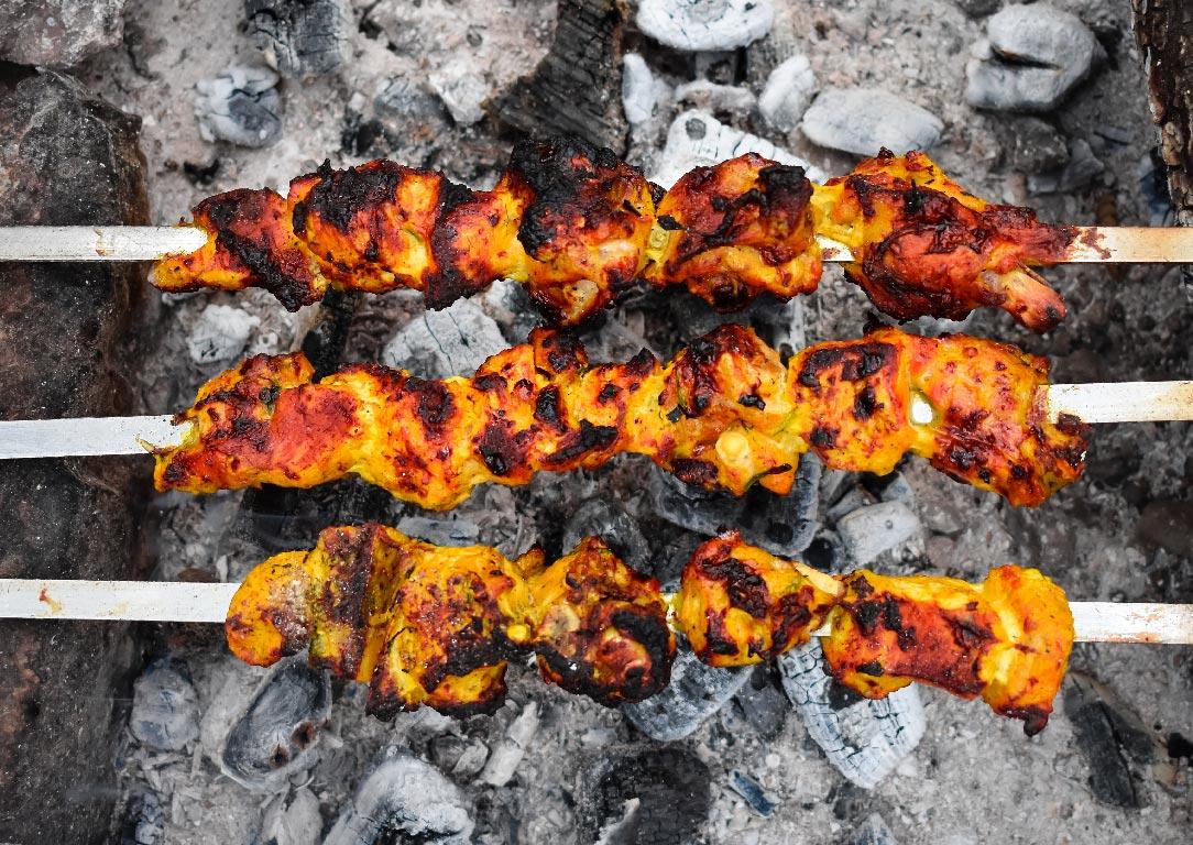 barbecued chicken skewers