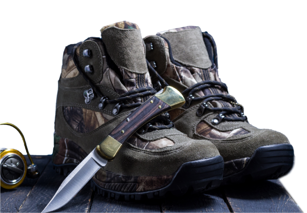 Hiking boots and a pocket knife